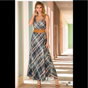 Boston Proper Presley Skye Plaid Maxi Dress M/8